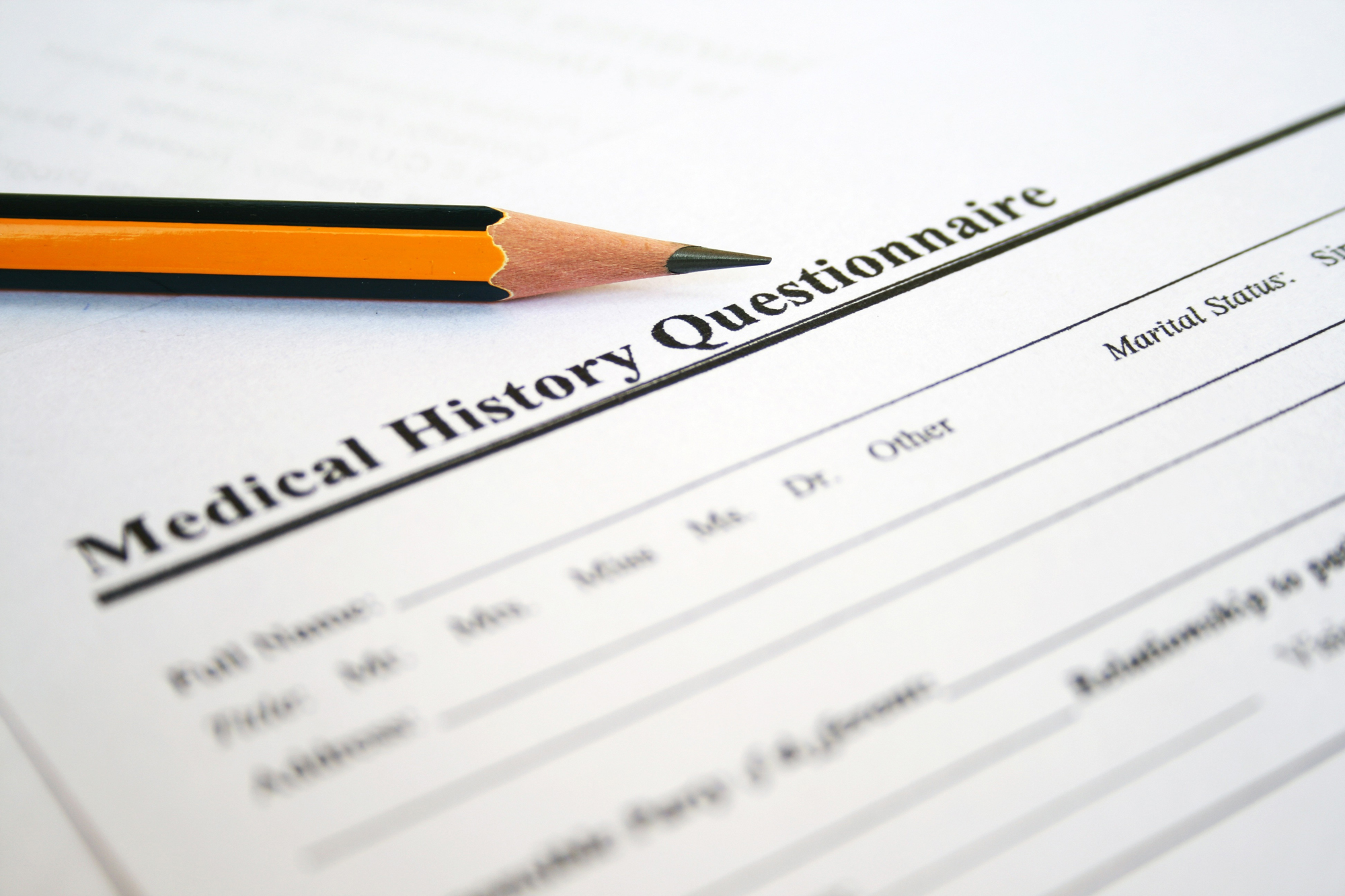 Patient medical history form to screen for prediabetes